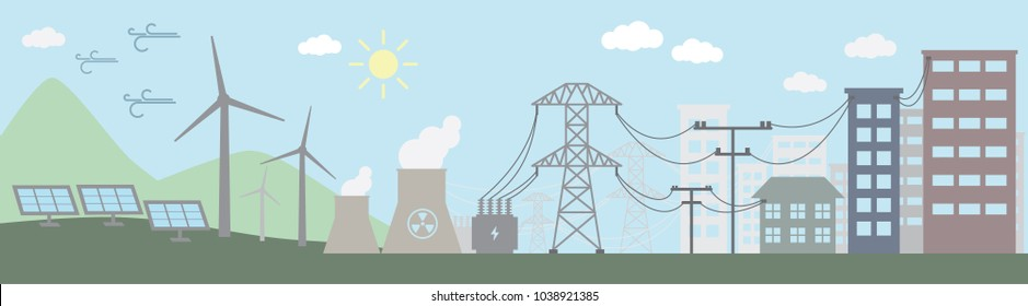 Colorful illustration of power distribution system. Vector illustration.
