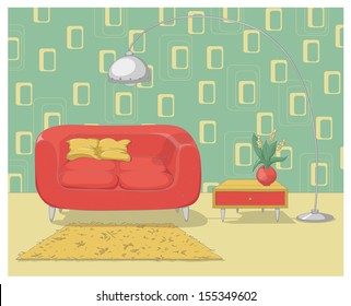 Colorful illustration of a retro living room interior design. EPS 10. No gradients. Transparency.