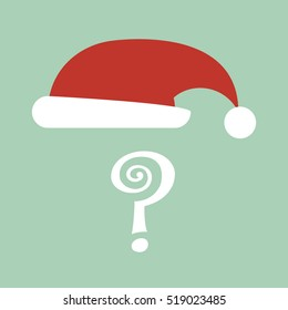 colorful illustration of santa claus hat isolated on light green  background for office game 'secret santa'. flat style
