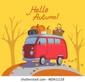 Colorful illustration of seasons theme in vector. Hello autumn concept. Modern vintage colors, flat design. Traditional hippie car minivan with lettering hello autumn. For autumn banners, post-card