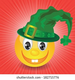 colorful illustration with smile in a green hat for your design