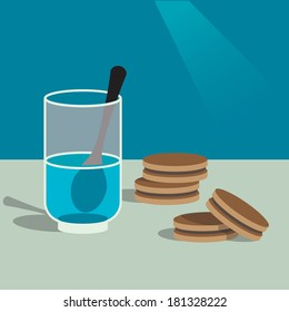Colorful illustration of some biscuits and a glass of water with teaspoon.
