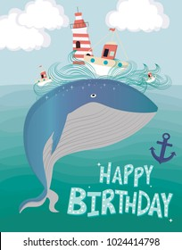 Colorful illustration with underwater life and whale. Ocean life poster, background. Happy birthday card.  Editable vector illustration