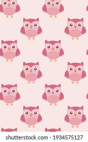 Colorful illustration of vector pattern of owl in childish style.