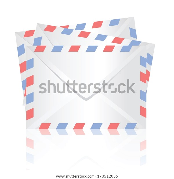 colorful illustration with  white envelopes for your design