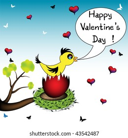 Colorful illustration with yellow bird standing in a nest and wishing Happy Valentine's Day