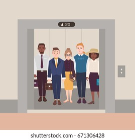 Colorful image illustrating group of people standing in open elevator. Men and women wearing business suit and classical cloth. Flat cartoon vector illustration.