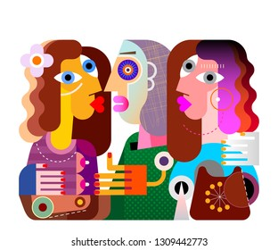 Colorful image isolated on a white background Twins girls and their ugly girlfriend with pale complexion vector illustration.