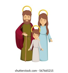 colorful image with jesus child and virgin mary and saint joseph