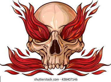 Colorful image of skull with fire inside.