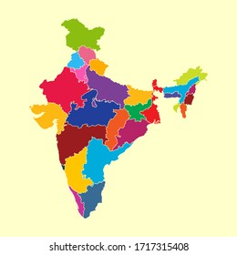 colorful india map vector illustrattor