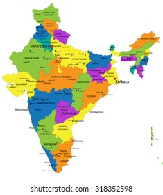 Colorful India political map with clearly labeled, separated layers. Vector illustration.