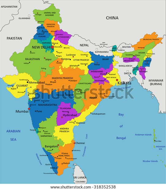 Colorful India Political Map Clearly Labeled Stock ...
