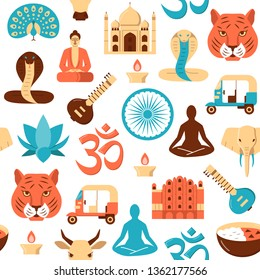 Colorful India seamless pattern in flat style. Repeating background with traditional symbols including Buddha, Taj Mahal, lotus flower, elephant. Vector illustration.
