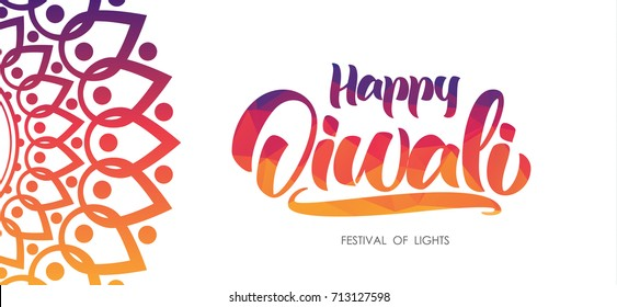 Colorful Indian greeting background with Handwritten lettering of Happy Diwali. Vector illustration