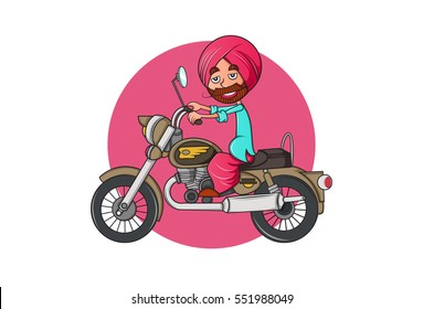 Colorful Indian Punjabi Sardar cartoon character on bullet bike.Vector illustration