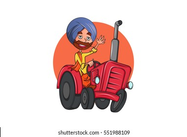 Colorful Indian Punjabi Sardar cartoon character on tractor in Punjab.Vector illustration