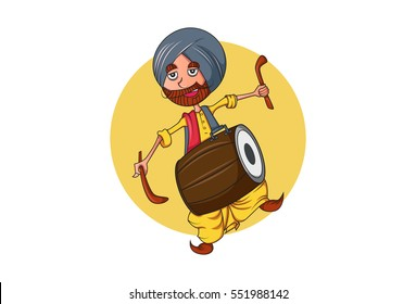 Colorful Indian Punjabi Sardar cartoon character with Dhol - a famous instrument in Punjab.Vector illustration