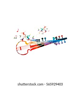 Colorful indian sarod with music notes and hummingbirds isolated. Music instrument background vector illustration. Design for poster, brochure, invitation, banner, flyer, concert and music festival