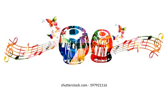 Colorful indian tabla with music notes and butterflies isolated. Music instrument background vector illustration. Design for poster, brochure, invitation, banner, flyer, concert and music festival