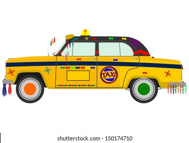Colorful Indian taxi on a white background.