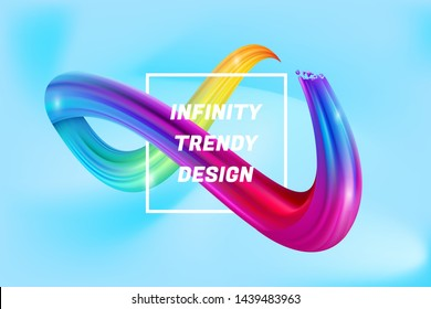 Colorful infinity shape background, Colorful 3d infinity Liquid water vector template, banner symbol