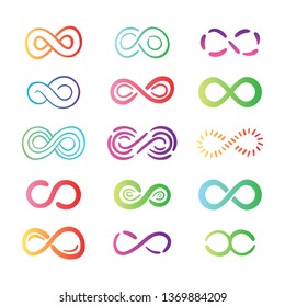 Colorful infinity symbol collection - vector