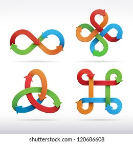 Colorful infinity symbol icons. Vector Illustration.