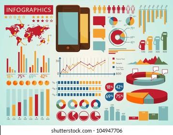 Colorful info graphics set
