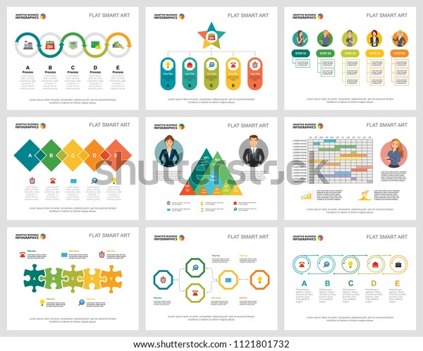 Colorful infochart diagrams set for presentation slide templates. Business design elements. Marketing concept can be used for annual report, advertising, flyer layout and banner design.