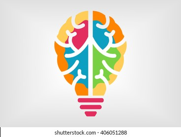 Colorful infographic for creativity and intelligence concept. Icon of brain and light bulb.