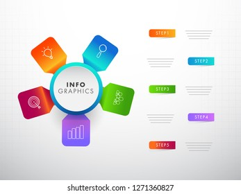 Colorful infographic elements with five different steps for corporate or business sector.
