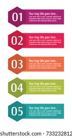 Colorful infographic in five steps