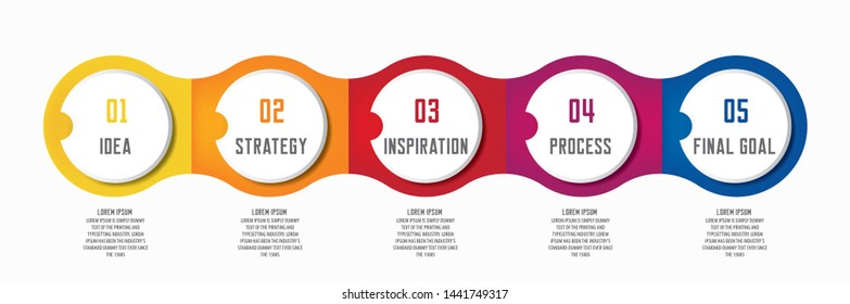 Colorful infographic in five steps 5 options with room for text in different colors.