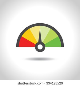 Colorful Info-graphic gauge element. Vector illustration. Speedometer icon or sign with arrow.