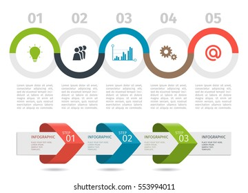 Colorful Infographic process chart and arrows with step up options. Vector template