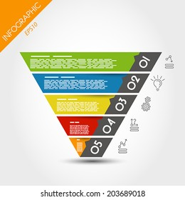 colorful infographic reversed pyramid. infographic concept.