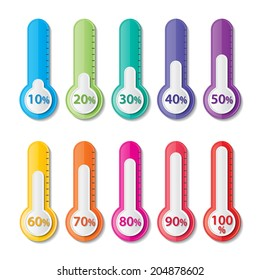 colorful  infographics paper thermometer with 10-100 percentage. vector.