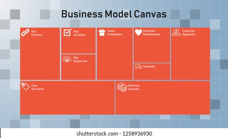 Colorful inforgraphic of bussiness model canvas with modern square blue background. Template for presentation