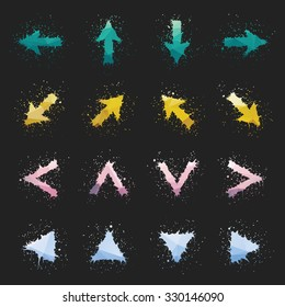 Colorful ink arrows set. Four different grunge arrow collections.