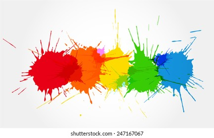 Colorful ink splashes.
