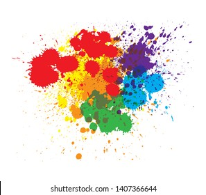 Colorful ink splatter design, isolated on white