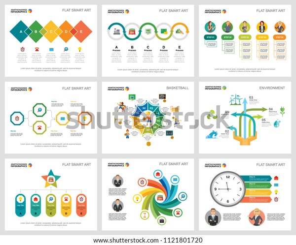 Colorful insurance or planning concept infographic charts set. Business design elements for presentation slide templates. For corporate report, advertising, leaflet layout and poster design.
