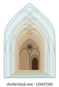 Colorful Interior of Gothic Cathedral- vector illustration