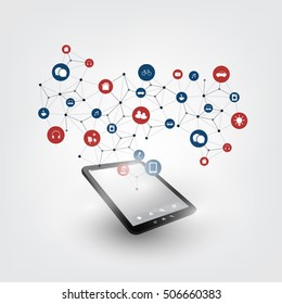 Colorful Internet of Things Design Concept with Icons - Digital Network Connections, Technology Background