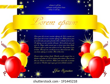 Colorful invitation card - vector illustration with glossy balloons, ribbon, confetti, hearts and stars