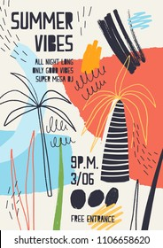 Colorful invitation or poster template decorated with tropical palm trees, paint stains, blots and scribble for summer open air dance party. Vector illustration for summertime event advertising.