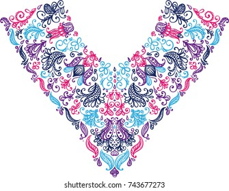 colorful isolated collar neck lace embroidery textile floral leaves dots doodle ornament on white vector