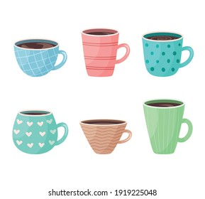 Colorful isolated on a white background set of mugs with patterns. Vector illustration of cartoon icons of cups with drink