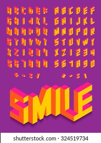 Colorful isometric 3d type font set isolated background illustration. EPS10 vector file.